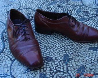 Vintage Men's Florsheim Brown Leather Lace Up Oxford Shoes - Hipster Cool