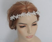 HPH8 Bridal Headpiece.Wedding Accessories Bridal Rhinestone Floral with Clear Crystals Headband