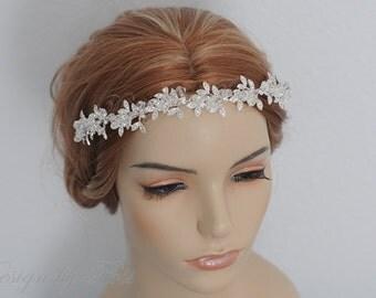 HPH8 Bridal Headpiece.Wedding Accessories Bridal Rhinestone Floral with Clear Crystals Headband