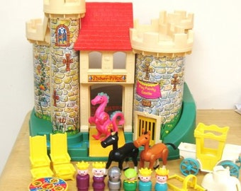 Vintage Fisher Price Castle And Accessories