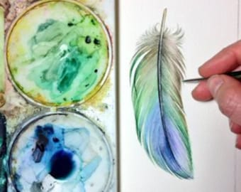 Blue-Green Parrotlet Feather study - Original Watercolour
