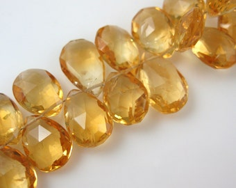 Citrine Gemstone Bead,Semi Precious 100% Genuine Citrine Pear Shape Briolette Bead- Loose Beads-Grade B -11 mm- 3 pcs -  Sku: 309003-CTR-B