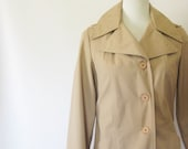 Vintage 1970s Classic Trench Coat Jacket Khaki Brown Small S Medium M 70s Indie Raincoat Hipster Fall Winter