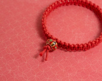 Red Bangle Macrame Beaded Bracelet