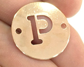 Rose Gold Plated Brass P Charm  (20mm) G4782