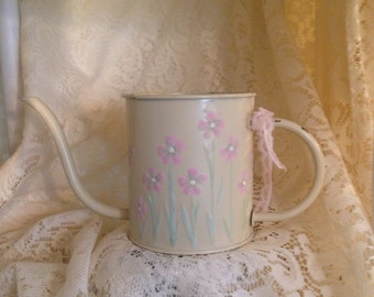 Shabby Cottage Chic Hand Painted Pale Pink Floral Distressed Watering Can Wall Art