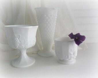 Farmhouse Style Milk Glass Vintage Milk Glass Vases Set of 3 Wedding Decor Boho Wedding Rustic Wedding Gifts For Her