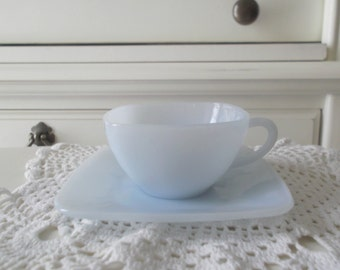 Fire King Cup and Saucer Blue Azurite  Anchor Hocking Charm Pattern Mid Century Decor