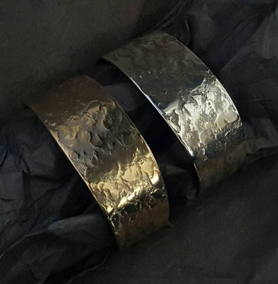 Custom Hypoallergenic Unisex Bracelet Cuff Hand Forged Texture Stainless Steel Gold or Silver Signed Original by Robert Aucoin, Iron Art