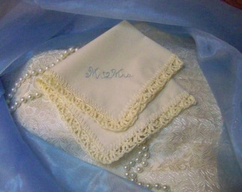 Something Blue, Bridal Keepsake, Crochet Handkerchief, Hanky, Hankie, Lace, Lacy, Embroidered, Personalized, Monogrammed, Ready to ship