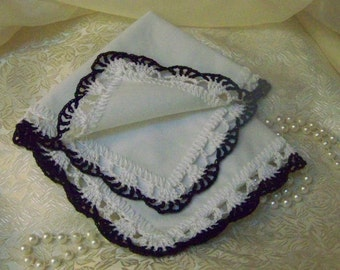 Custom Embroidered Handkerchief, Hanky, Hankie, Personalized, Monogrammed, Hand Crochet, Lace, Lacy,  Ladies, Black, White, Ready to ship,