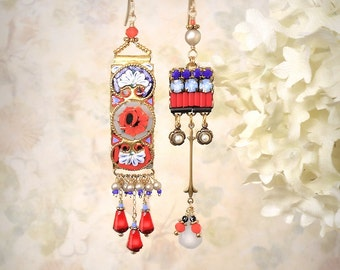 Mosaic Garden Asymmetrical Earrings Vintage Italian MicroMosaic Vivid Red Orange Rose Gray Blue White Mosaic Gypsy Boho Festival Jewelry