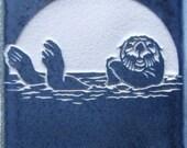 4x4 Sea Otter Etched Tile - Tile Coaster