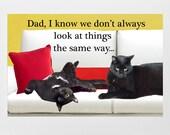 Dad Birthday Card, Father's Day, Cat Lover, Handmade,Dad Card, Cat Dad, Deborah Julian
