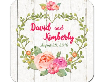 Custom Wedding Labels Personalized Heart Wreath Boho Rustic Peony Flowers Watercolor Florals Square Glossy Designer Stickers - Quantity 100