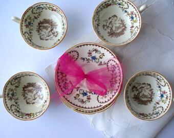 Vintage Royal Doulton The Beaufort Teacups & Saucers Set of Four - Tea Parties Weddings