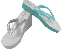 Silver, Gift Box Blue or Design your Custom Colors/ Bridal Colored Wedge Flip Flops for the Wedding, Ivory or White Heel