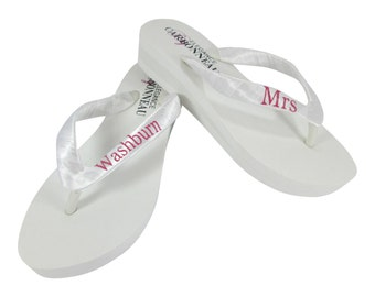 White & Hot Pink Wedding Personalized Bridal Wedges in Ivory or White and Choose Heel Height