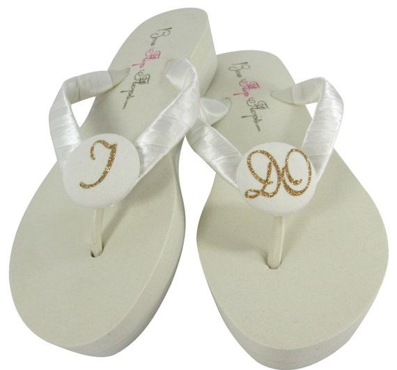 Wedding Bridal Flip Flops, Gold Glitter I DO, Ivory wedge Wedding flip flops for the Bride
