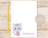 personalized notepad . cat note pad . watercolor kitty cat . personalized stationery . kids, childrens stationary . yarn ball, kitten
