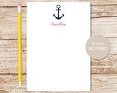 personalized anchor notepad . anchor note pad . personalized stationery . nautical stationary