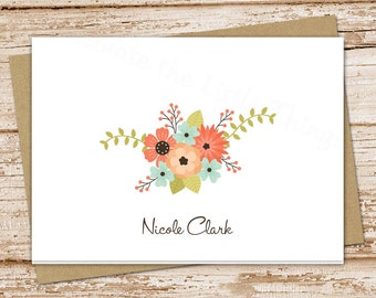 personalized note cards notecard set . flowers, floral . womens folded personalized stationery . peach blue flowers . set of 8