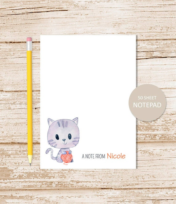 personalized notepad cat note pad watercolor kitty cat