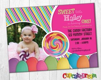 Lollipop Invitation Candy Birthday