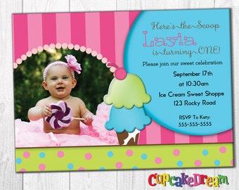 Ice Cream Birthday Invitation, Sprinkles Party