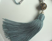 Moroccan  tribal, bead tassel necklace, blue art silk,  wooden etched bead