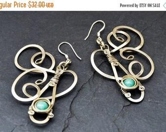 Teal Dangle Earrings Wire Wrap Earrings Amazonite Earrings Gemstone Earrings Blue Green Earrings Long Earrings Bohemian Earrings