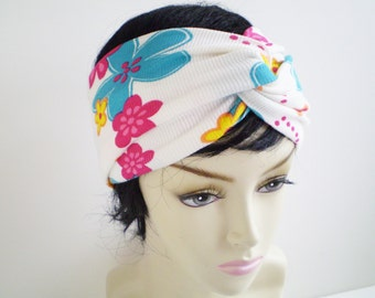 White Floral Turban Headband, Tropical Turban Headband, Summer Twist Headband, White Teal Pink Turban Headband