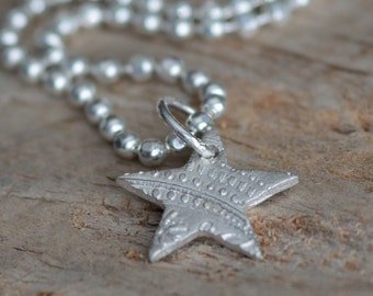 SALE Fine Silver Star Charm Necklace Textured Star Pendant Jewelry Sterling Silver Necklace Tell That Graduate She's a Star