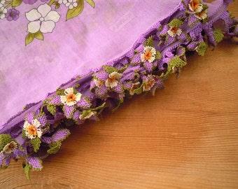 lilac cotton scarf, turkish oya flower