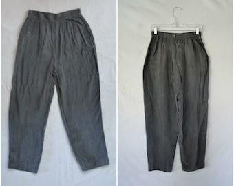 Vintage gray wide leg pants / soft rayon trousers / small medium