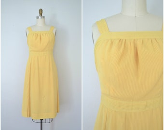 1960s bright yellow summer draped dress // flowing golden simple dres // small medium