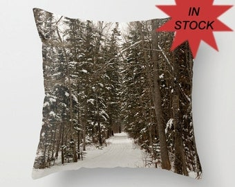 """18"""" Winter Pillow Cover, Brown, Man Cave Decor, Woodland, Toss Cushions, Handmade in Canada, Gift for Him, Dad, Boyfriend, Boss, Outdoorsmen"""