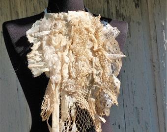 Jabot, collar, steampunk, victorian, shabby chic, vampire, goth, textured collar, jane austen, wedding, bridal, fae, layers and frills,roses