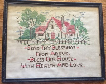 Charming framed vintage sampler