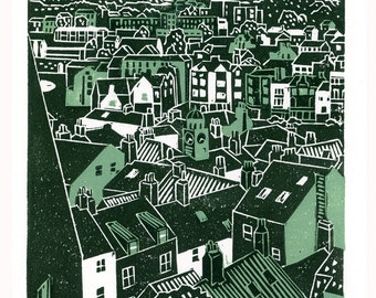Whitby No.3 two-colour linocut print in teal and dark green