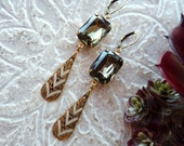 Vintage Black Diamond Glass Octagon and Damascene Dangle Earrings