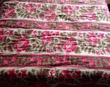 "Antique French Boutis Quilt Red Roses & Hibiscus Quilt / Provencal Floral Fabric Vintage Textile / Decorative Antiques Home Decor 74"" x 56"""