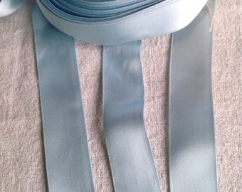 Old French Satin Tape. Blue Ribbon / Vintage Trim. 10 yards / Millinery Ballet Dolls Sewing Supplies. Old New Stock!