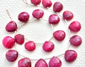 JUST 1 Strand, 180 Cts, GIANT,Dyed Natural RUBY Faceted Heart Shape briolettes,10-13mmmm Long, Finest Item
