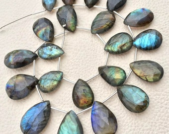 Giant Size, 18-30mm Long Pear-Finest-Superb-BLUE FLASHY LABRADORITE Elongated Faceted Pear Shape Briolettes,