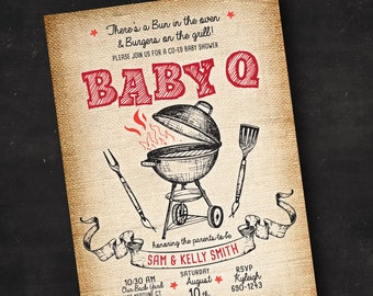 Couple's BBQ Baby Shower Invitation | Co Ed Baby Shower Invitation | Printed Invitation | Printable Digital File | Burlap Baby Q Baby Shower
