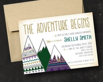 The Adventure Begins Baby Shower Invitation Adventurer Tribal Camping Mountains Outdoors Purple Green Gold Woodland Printed Printable  File