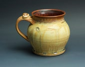 Handcrafted pottery beer mug, ceramic mug, stoneware stein mottled golden ambrosia 24 oz 3385