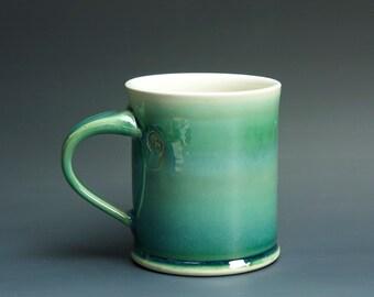 Pottery coffee mug, ceramic mug, stoneware tea cup jade green 14 oz 3236
