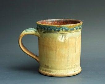 Handmade pottery coffee mug tea cup 14 oz, orange rust tea cup 3358